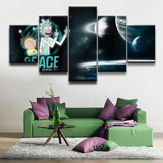 Rick and Morty Inspired Space Canvas Wall Art