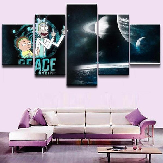 Rick and Morty Inspired Space Canvas Wall Art Prints