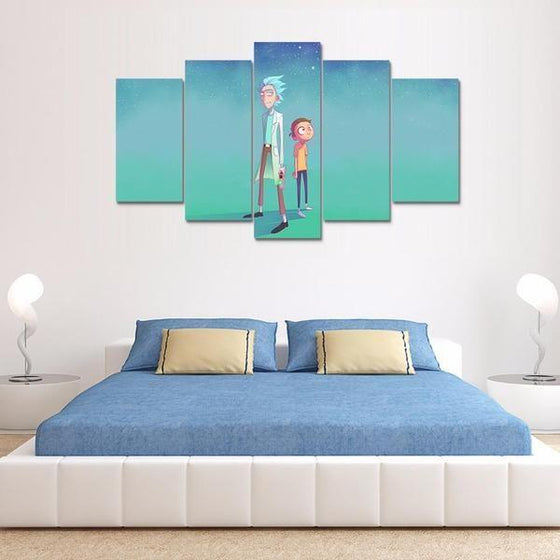 Rick and Morty Inspired Green Space Canvas Wall Art Bedroom