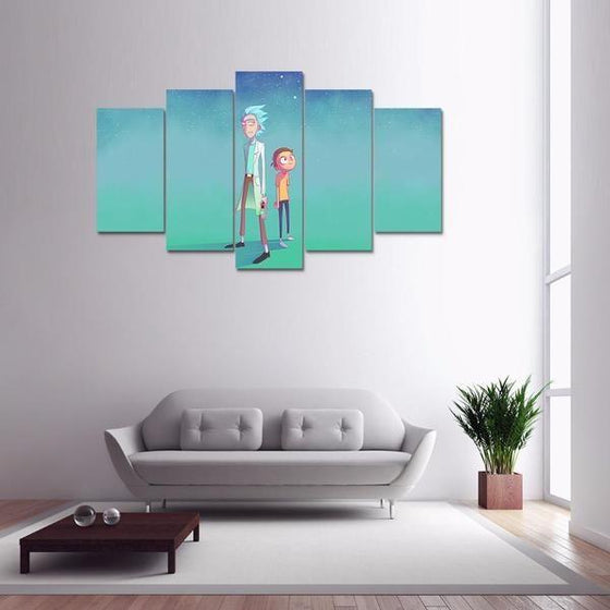 Rick and Morty Inspired Green Space Canvas Wall Art Living Room