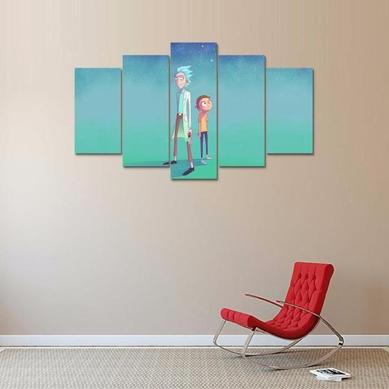 Rick and Morty Inspired Green Space Canvas Wall Art Decor