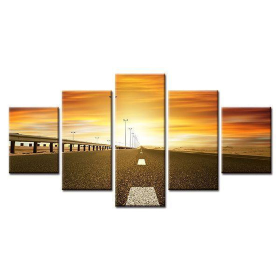 Road & Sunset View Canvas Wall Art