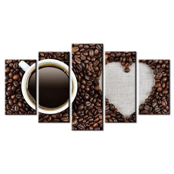 Roasted Beans And A Cup Of Coffee Canvas Wall Art