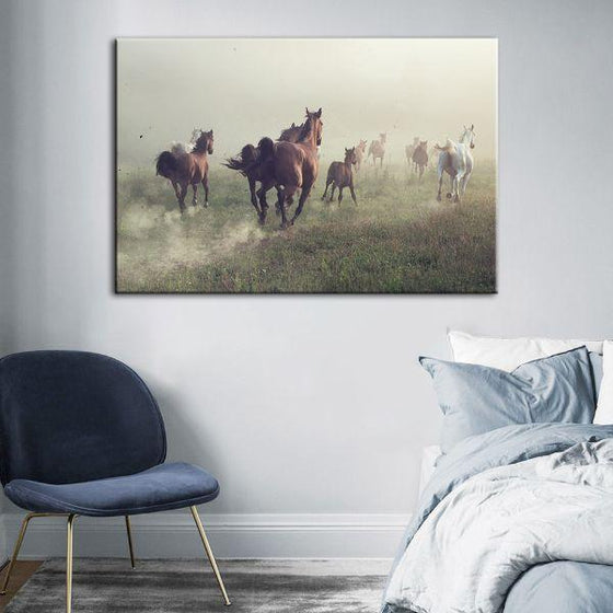 Running Herd Of Horses Canvas Wall Art Decor