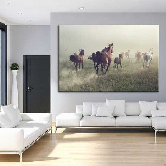 Running Herd Of Horses Canvas Wall Art Living Room