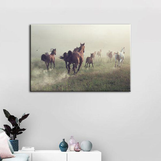 Running Herd Of Horses Canvas Wall Art Print