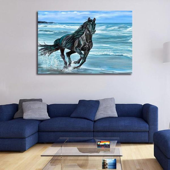 Running Horse At The Beach Canvas Wall Art Decor