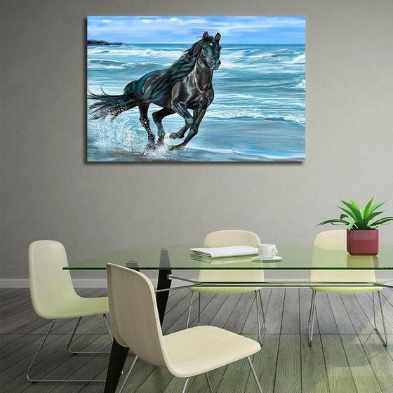 Running Horse At The Beach Canvas Wall Art Dining Room