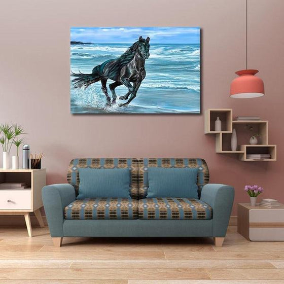 Running Horse At The Beach Canvas Wall Art Living Room