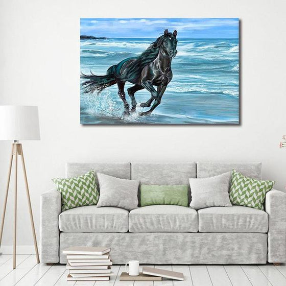 Running Horse At The Beach Canvas Wall Art Print