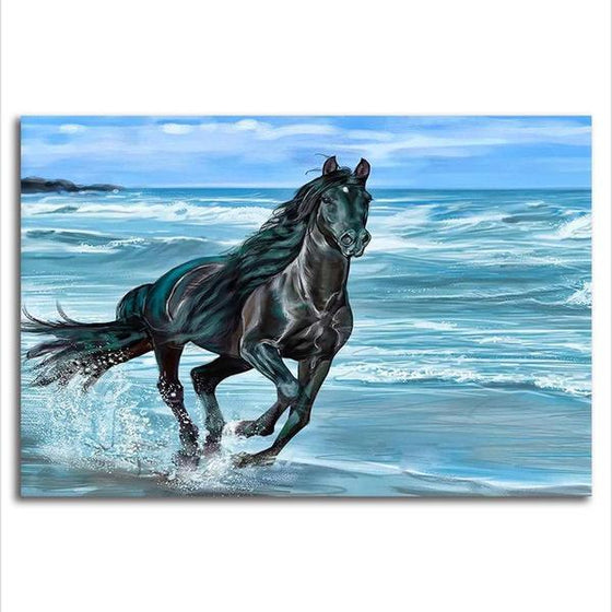 Running Horse At The Beach Canvas Wall Art