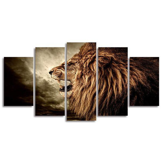 Rustic Roaring Lion Canvas Wall Art