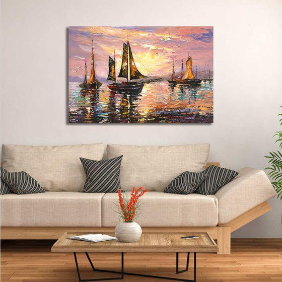 Sailboats At Sunset Canvas Wall Art Decor