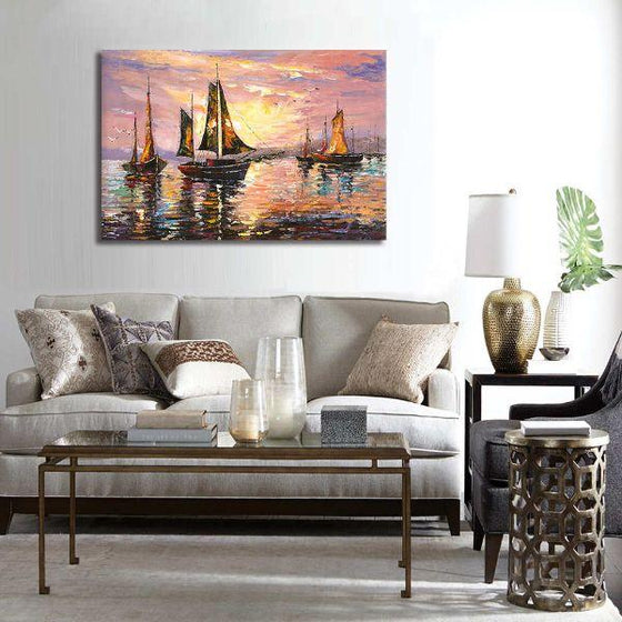 Sailboats At Sunset Canvas Wall Art Living Room