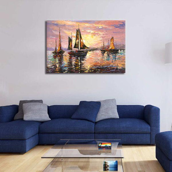 Sailboats At Sunset Canvas Wall Art Office