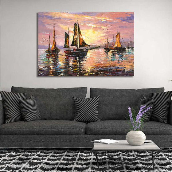 Sailboats At Sunset Canvas Wall Art Print