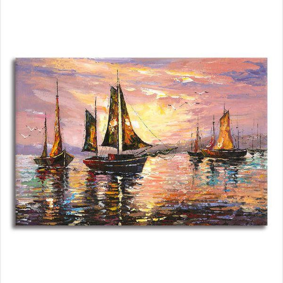 Sailboats At Sunset Canvas Wall Art