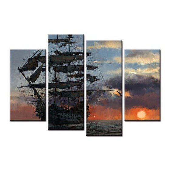 Sailing Ship Sunset Canvas Wall Art