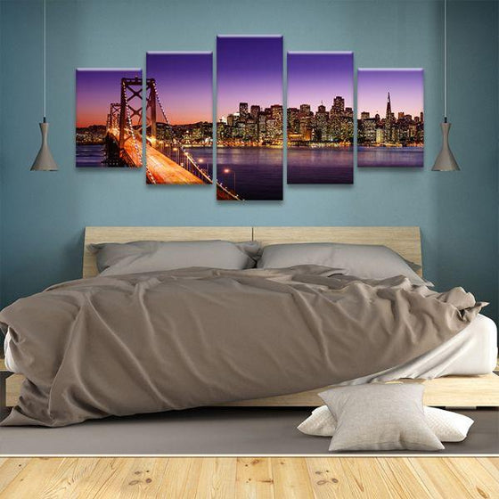 San Francisco Sunset View 5 Panels Canvas Wall Art Bedroom