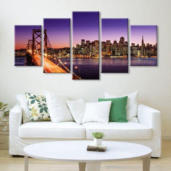 San Francisco Sunset View 5 Panels Canvas Wall Art Decor