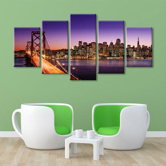 San Francisco Sunset View 5 Panels Canvas Wall Art Living Room