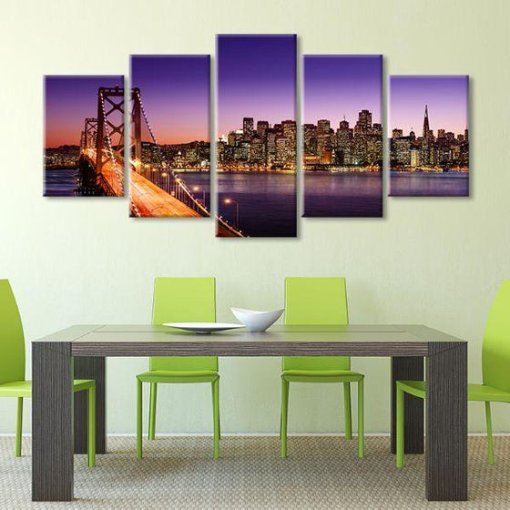San Francisco Sunset View 5 Panels Canvas Wall Art Set