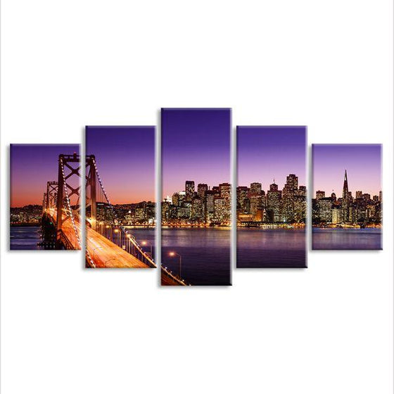 San Francisco Sunset View 5 Panels Canvas Wall Art