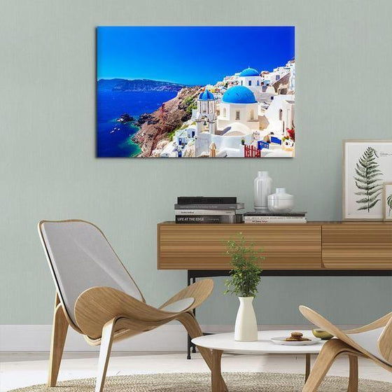 Santorini Greece View Wall Art Canvas