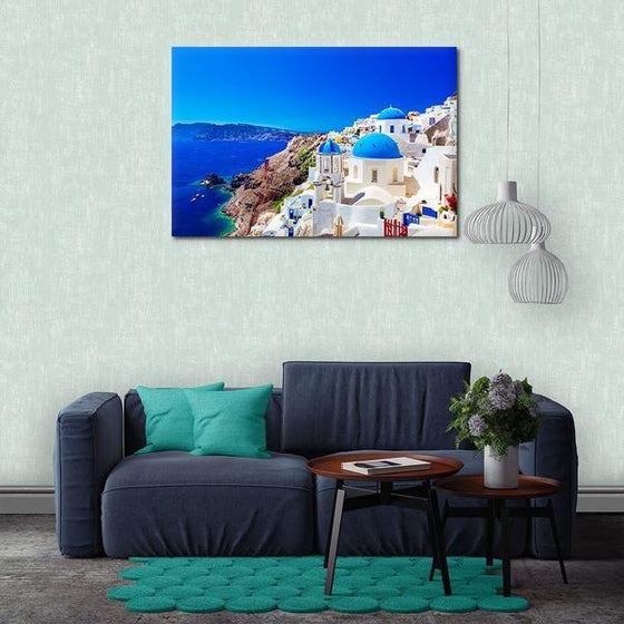 Santorini Greece View Wall Art Living Room
