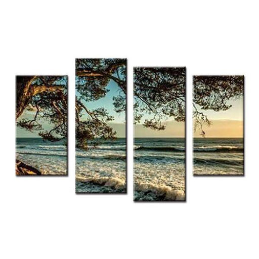 Scenic Beach Side Tree Canvas Wall Art