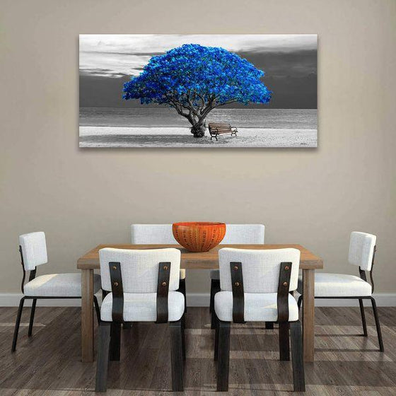 Scenic Big Blue Tree Canvas Wall Art Dining Room