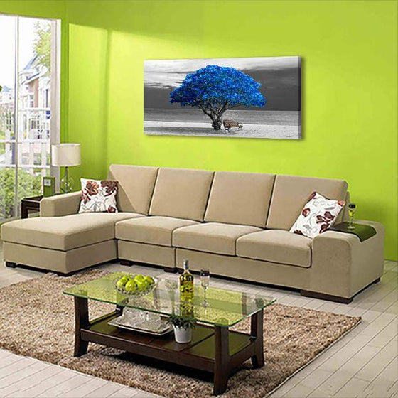 Scenic Big Blue Tree Canvas Wall Art Living Room