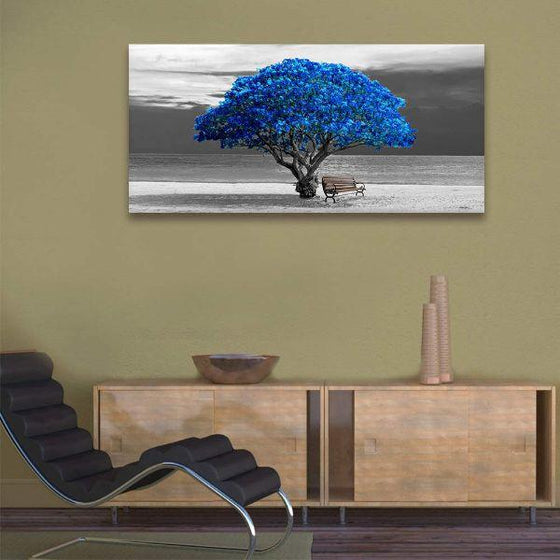Scenic Big Blue Tree Canvas Wall Art Office
