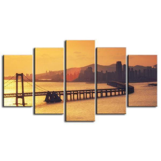 Scenic Bridge & Sunset View Canvas Wall Art