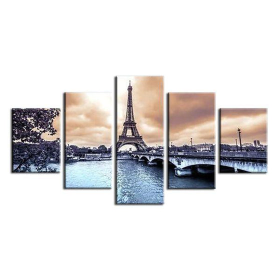 Scenic Eiffel Tower Bridge Canvas Wall Art