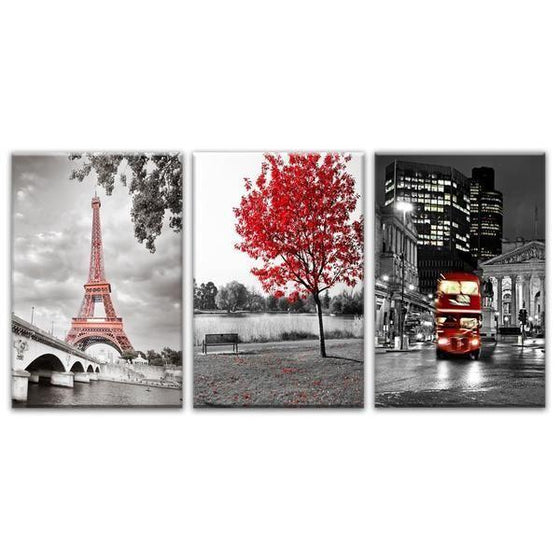 Scenic Paris Tourist Spots Canvas Wall Art