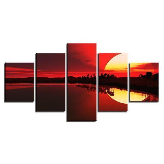 Scenic Red Sunset Canvas Wall Art