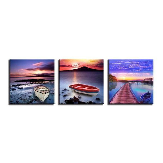 Scenic Sea View & Sunset Canvas Wall Art