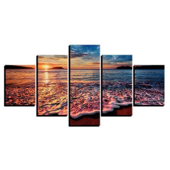 Foamy Beach Waves & Sunset Canvas Wall Art Ideas