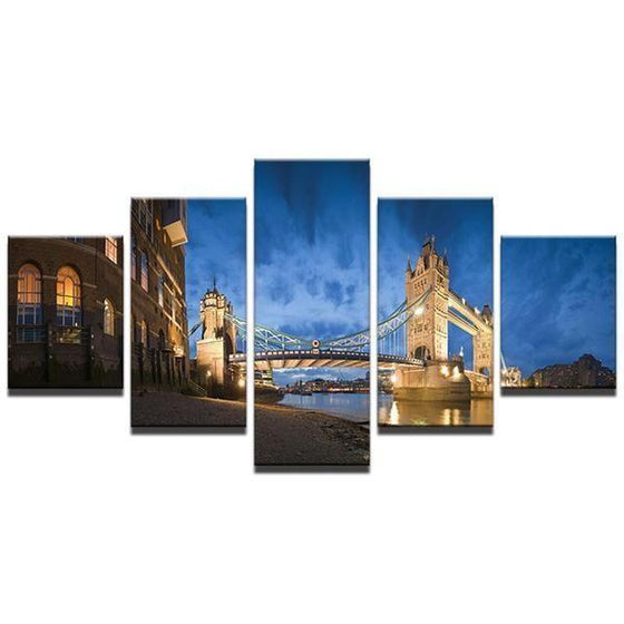 Scenic View Of London Tower Bridge Canvas Wall Art