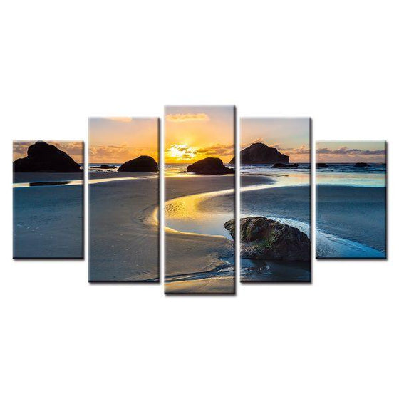 Sea and Sunset View Canvas Wall Art