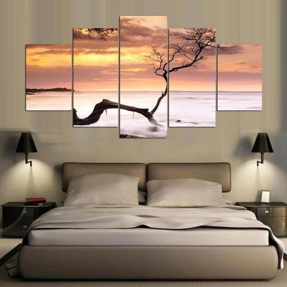 Sea Tree Sunset Canvas Bedroom Wall Art