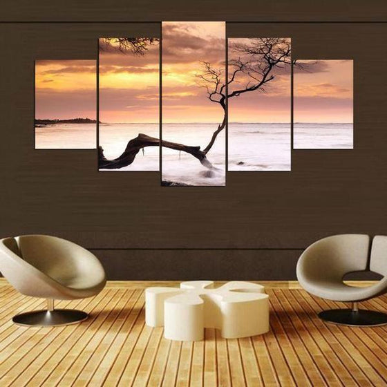 Sea Tree Sunset Canvas Living Room Wall Art