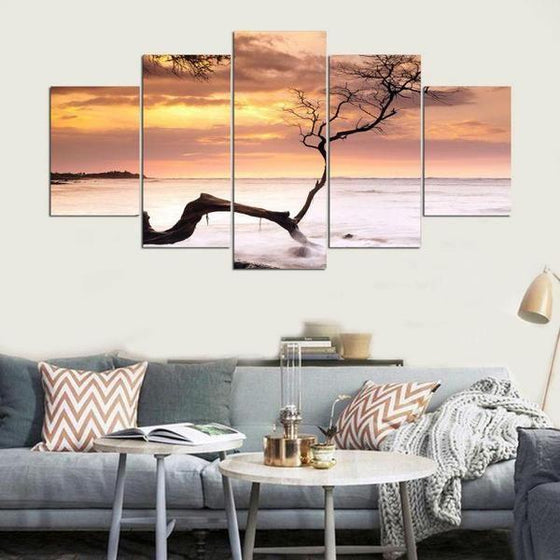 Sea Tree Sunset Canvas Nature Wall Art