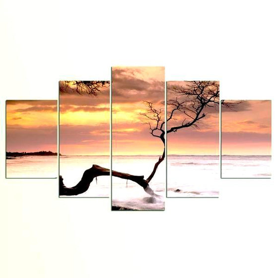 Sea Tree Sunset Canvas Wall Art