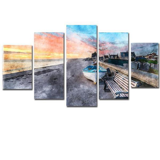 Beach Side Boat Canvas Wall Art