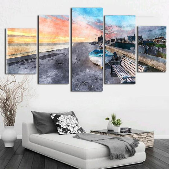Beach Side Boat Canvas Wall Art Decor