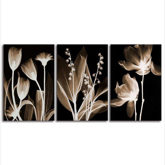 Sepia Flowers Canvas Wall Art