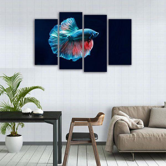 Siamese Fighting Fish 4 Panels Canvas Wall Art Dining Room
