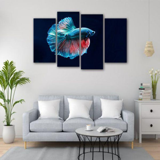 Siamese Fighting Fish 4 Panels Canvas Wall Art Living Room